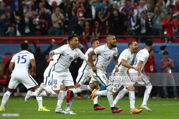 Arturo Vidal of Chile celebrates with his teammates after they won a penalty shootout during the FIFA Confederations Cup Russia 2017 SemiFinal match...