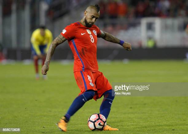 Arturo Vidal of Chile controls the ball during a match between Chile and Paraguay as part of FIFA 2018 World Cup Qualifiers at Monumental Stadium on...