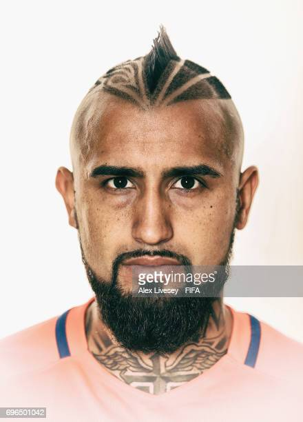 Arturo Vidal of Chile during a portrait session ahead of the FIFA Confederations Cup Russia 2017 at the Crowne Plaza Hotel on June 15 2017 in Moscow...
