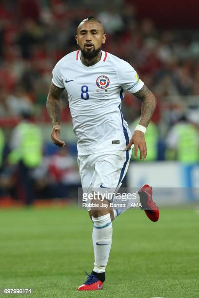 Arturo Vidal of Chile during the FIFA Confederations Cup Russia 2017 Group B match between Cameroon and Chile at Spartak Stadium on June 18 2017 in...