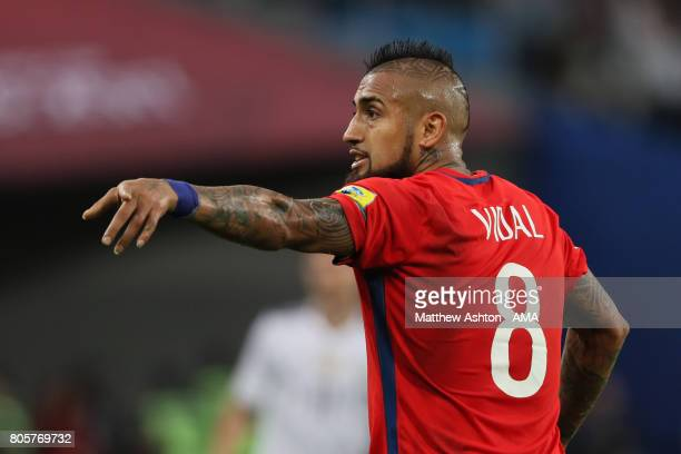 Arturo Vidal of Chile gestures during the FIFA Confederations Cup Russia 2017 Final match between Chile and Germany at Saint Petersburg Stadium on...