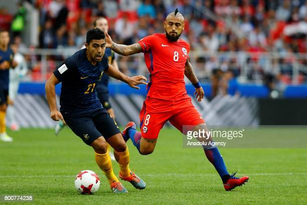 Arturo Vidal of Chile in action against Massimo Luongo of Australia during the Confederations Cup 2017 match between Chile and Australia at Spartak...