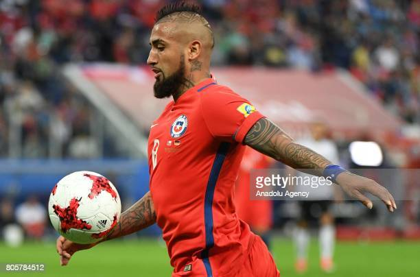 Arturo Vidal of Chile is in action during the Confederations Cup 2017 Final match Chile Germany at SaintPetersburg Stadium in St Petersburg Russia 2...