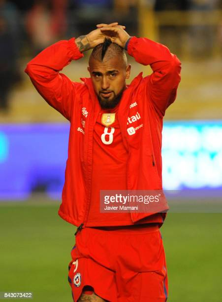 Arturo Vidal of Chile looks dejected after losing a match between Bolivia and Chile as part of FIFA 2018 World Cup Qualifiers at Hernando Siles...