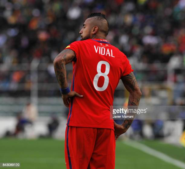 Arturo Vidal of Chile looks on during a match between Bolivia and Chile as part of FIFA 2018 World Cup Qualifiers at Hernando Siles Stadium on...