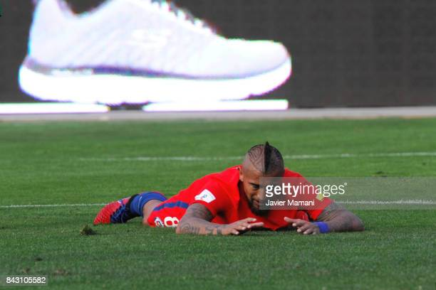 Arturo Vidal of Chile reacts after missing a chance of goal during a match between Bolivia and Chile as part of FIFA 2018 World Cup Qualifiers at...