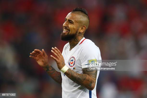 Arturo Vidal of Chile reacts during the FIFA Confederations Cup Russia 2017 Group B match between Cameroon and Chile at Spartak Stadium on June 18...
