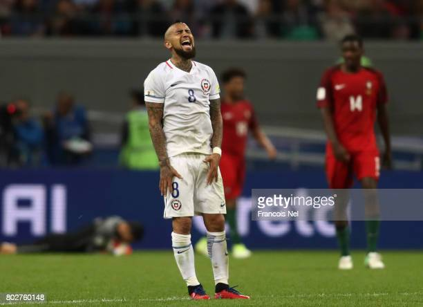 Arturo Vidal of Chile reacts to hitting the bar during the FIFA Confederations Cup Russia 2017 SemiFinal between Portugal and Chile at Kazan Arena on...