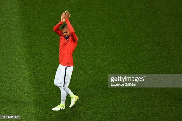 Arturo Vidal of Chile shows appreciation to the fans while warming up prior the FIFA Confederations Cup Russia 2017 SemiFinal between Portugal and...