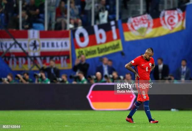 Arturo Vidal of Chile shows dejection after the FIFA Confederations Cup Russia 2017 Final between Chile and Germany at Saint Petersburg Stadium on...