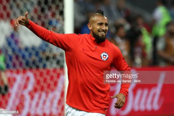 Arturo Vidal of Chile warms up prior to the FIFA Confederations Cup Russia 2017 SemiFinal match between Portugal and Chile at Kazan Arena on June 28...