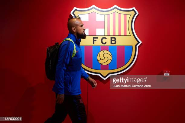 Arturo Vidal of FC Barcelona arrives to the stadium during the Liga match between SD Eibar SAD and FC Barcelona at Ipurua Municipal Stadium on...