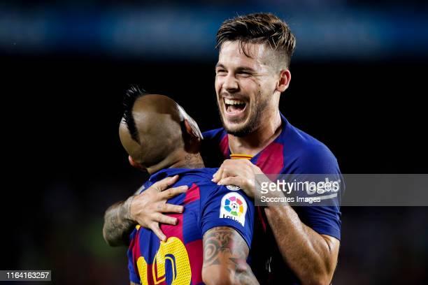 Arturo Vidal of FC Barcelona Carles Perez of FC Barcelona celebrates goal 51 during the La Liga Santander match between FC Barcelona v Real Betis...