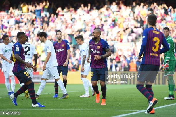 Arturo Vidal of FC Barcelona celebrates after scoring his team's first goal during the La Liga match between FC Barcelona and Getafe CF at Camp Nou...