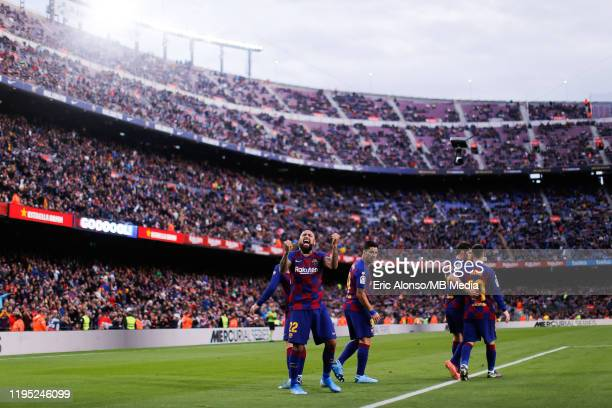Arturo Vidal of FC Barcelona celebrates the 20 during the Liga match between FC Barcelona and Deportivo Alaves at Camp Nou on December 21 2019 in...