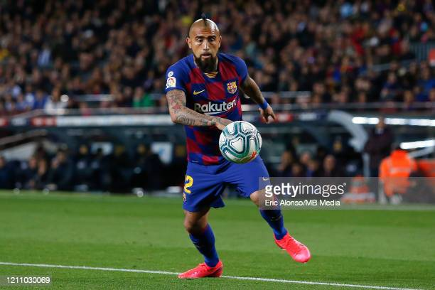 Arturo Vidal of FC Barcelona controls the ball during the Liga match between FC Barcelona and Real Sociedad at Camp Nou on March 07 2020 in Barcelona...