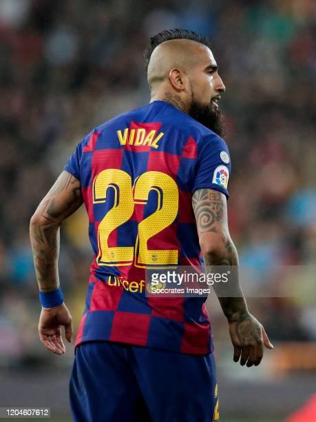 Arturo Vidal of FC Barcelona during the La Liga Santander match between Real Madrid v FC Barcelona at the Santiago Bernabeu on March 1 2020 in Madrid...