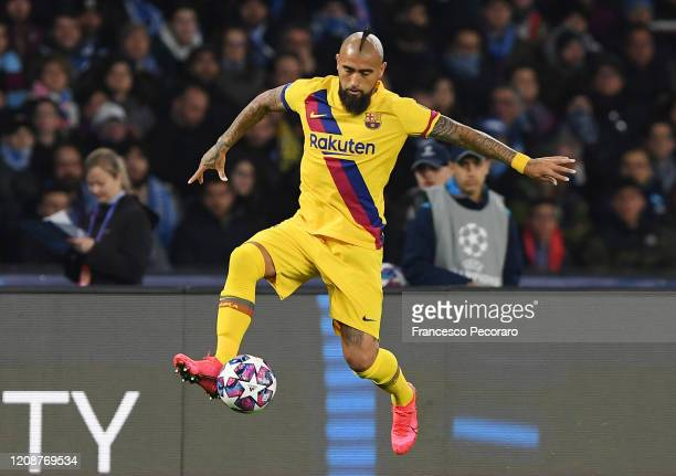Arturo Vidal of FC Barcelona during the UEFA Champions League round of 16 first leg match between SSC Napoli and FC Barcelona at Stadio San Paolo on...