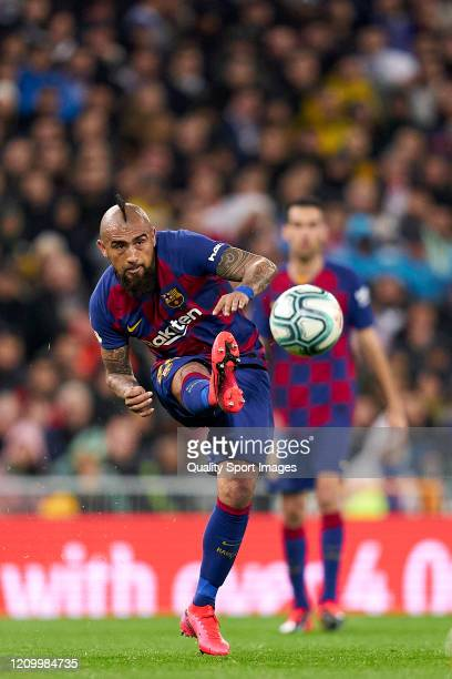 Arturo Vidal of FC Barcelona in action during the Liga match between Real Madrid CF and FC Barcelona at Estadio Santiago Bernabeu on March 01 2020 in...