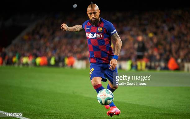 Arturo Vidal of FC Barcelona in action during the Liga match between FC Barcelona and Real Sociedad at Camp Nou on March 07 2020 in Barcelona Spain