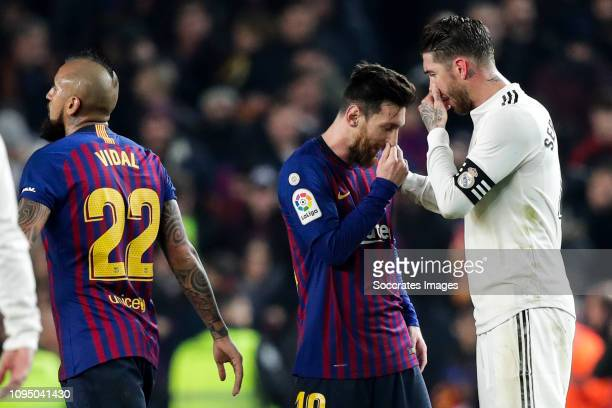 Arturo Vidal of FC Barcelona Lionel Messi of FC Barcelona Sergio Ramos of Real Madrid during the Spanish Copa del Rey match between FC Barcelona v...