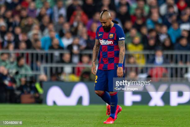 Arturo Vidal of FC Barcelona looks dejected during the Liga match between Real Madrid CF and FC Barcelona at Estadio Santiago Bernabeu on March 1...