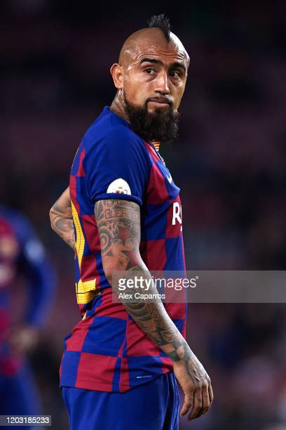 Arturo Vidal of FC Barcelona looks on during the Copa del Rey Round of 16 match between FC Barcelona and CD Leganes at Camp Nou on January 30, 2020...
