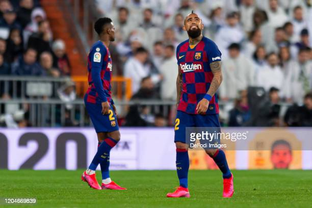 Arturo Vidal of FC Barcelona looks on during the Liga match between Real Madrid CF and FC Barcelona at Estadio Santiago Bernabeu on March 1 2020 in...