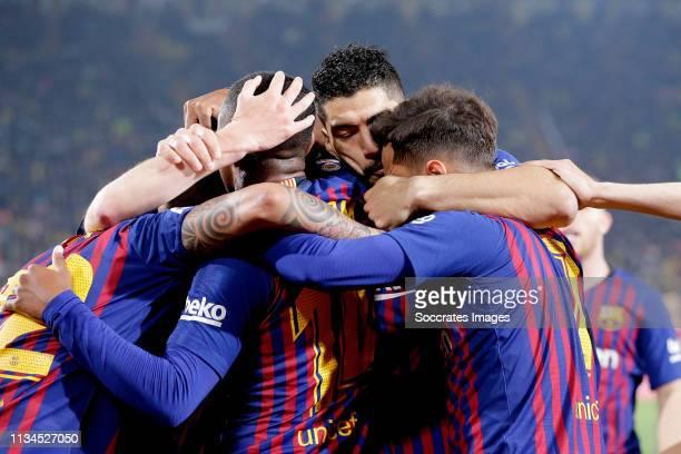 Arturo Vidal of FC Barcelona Malcom of FC Barcelona Luis Suarez of FC Barcelona Philippe Coutinho of FC Barcelona celebrate goal during the La Liga...