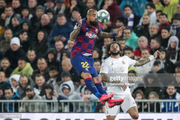 Arturo Vidal of FC Barcelona Marcelo of Real Madrid during the La Liga Santander match between Real Madrid v FC Barcelona at the Santiago Bernabeu on...