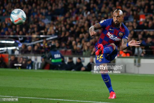 Arturo Vidal of FC Barcelona pass the ball during the Liga match between FC Barcelona and Real Sociedad at Camp Nou on March 07 2020 in Barcelona...