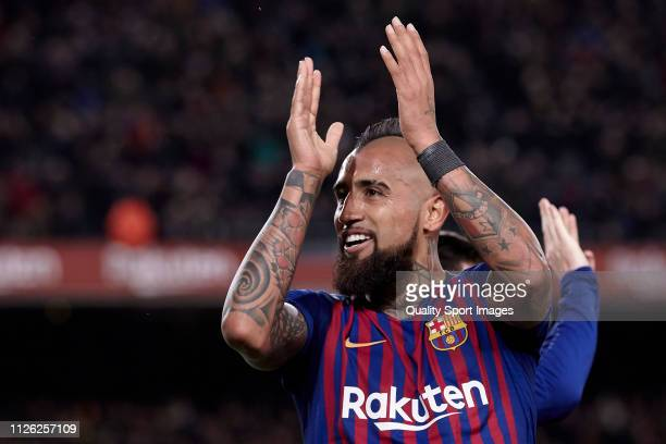 Arturo Vidal of FC Barcelona reacts during the Copa del Quarter Final Second Leg match between FC Barcelona and Sevilla FC at Nou Camp on January 30...