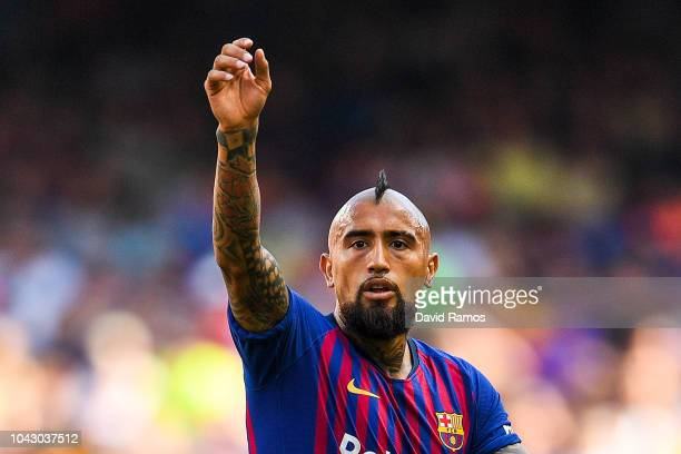 Arturo Vidal of FC Barcelona reacts during the La Liga match between FC Barcelona and Athletic Club at Camp Nou on September 29 2018 in Barcelona...