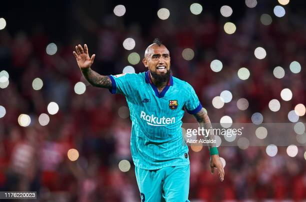 Arturo Vidal of FC Barcelona reacts during the Liga match between Granada CF and FC Barcelona at Estadio Nuevo Los Carmenes on September 21 2019 in...