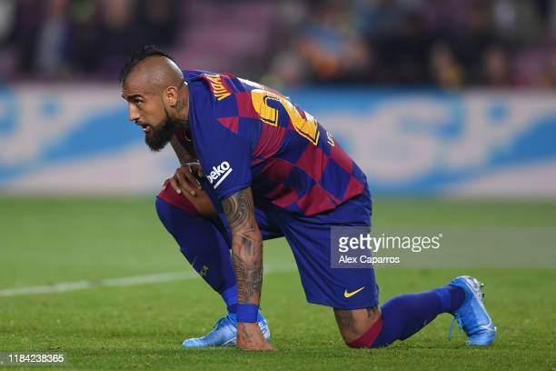 Arturo Vidal of FC Barcelona reacts during the Liga match between FC Barcelona and Real Valladolid CF at Camp Nou on October 29 2019 in Barcelona...