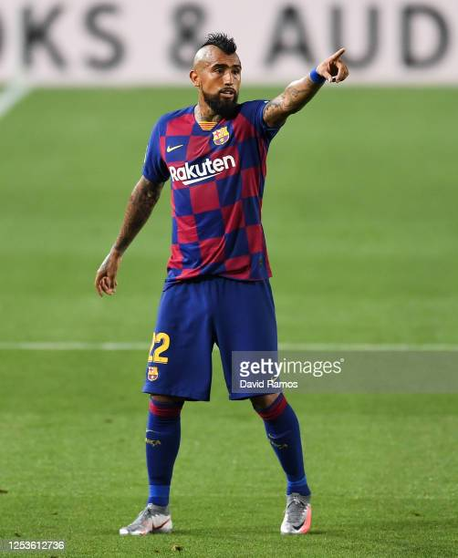 Arturo Vidal of FC Barcelona reacts during the Liga match between FC Barcelona and Club Atletico de Madrid at Camp Nou on June 30, 2020 in Barcelona,...