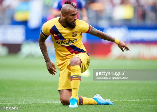 Arturo Vidal of FC Barcelona reacts during the Liga match between SD Eibar SAD and FC Barcelona at Ipurua Municipal Stadium on October 19 2019 in...