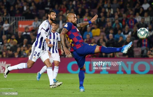 Arturo Vidal of FC Barcelona scores his team's second goal during the Liga match between FC Barcelona and Real Valladolid CF at Camp Nou on October...