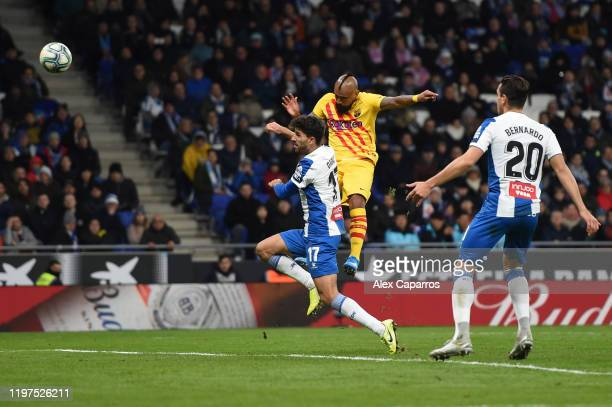 Arturo Vidal of FC Barcelona scores his team's second goal during the La Liga match between RCD Espanyol and FC Barcelona at RCDE Stadium on January...