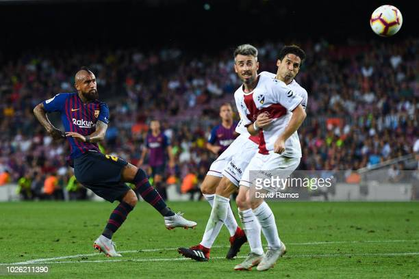 Arturo Vidal of FC Barcelona shoots towards goal during the La Liga match between FC Barcelona and SD Huesca at Camp Nou on September 2 2018 in...
