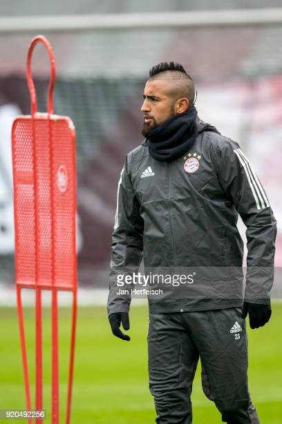 Arturo Vidal of FC Bayern Muenchen during a training session ahead the champions league match between FC Bayern Munich and Besiktas Istanbul on...