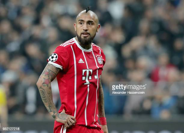 Arturo Vidal of FC Bayern Muenchen looks on during the UEFA Champions League Round of 16 Second Leg match Besiktas and Bayern Muenchen at Vodafone...