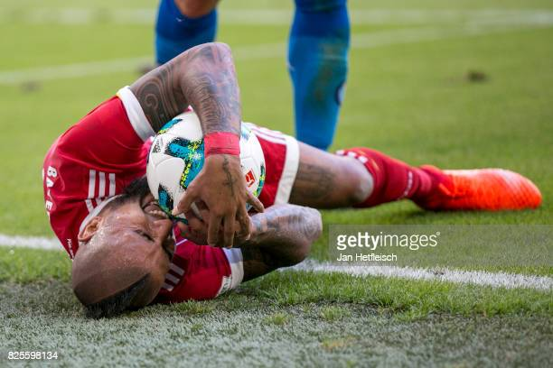 Arturo Vidal of FC Bayern Muenchen reacts during the Audi Cup 2017 match between SSC Napoli and FC Bayern Muenchen at Allianz Arena on August 2 2017...