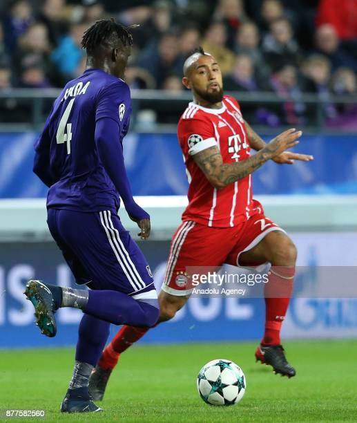 Arturo Vidal of FC Bayern Munich in action against Kara Mbodj of Anderlecht during UEFA Champions League Group B soccer match between Anderlecht and...