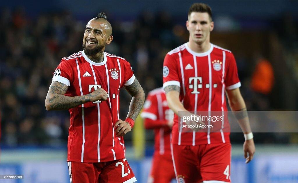 Arturo Vidal (L) of FC Bayern Munich reacts during UEFA Champions League Group B soccer match between Anderlecht and FC Bayern Munich at Constant Van den Stock Stadium in Brussels, Belgium on November 22, 2017.