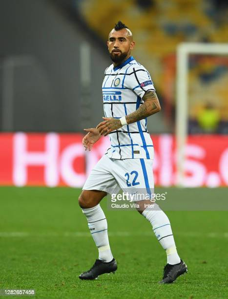 Arturo Vidal of FC Internazionale in action during the UEFA Champions League Group B stage match between Shakhtar Donetsk and FC Internazionale at...