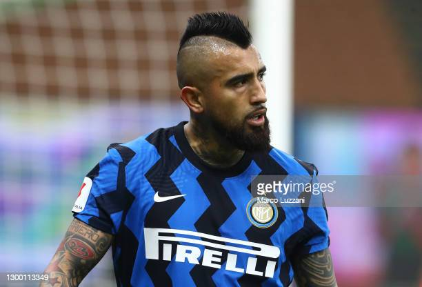 Arturo Vidal of FC Internazionale looks on during the Coppa Italia semi-final match between FC Internazionale and Juventus at Stadio Giuseppe Meazza...