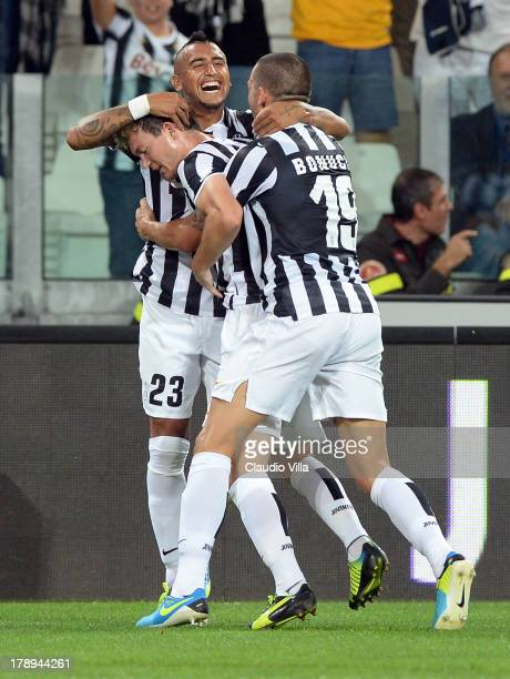 Arturo Vidal of FC Juventus celebrates scoring the second goal during the Serie A match between Juventus and SS Lazio at Juventus Arena on August 31...