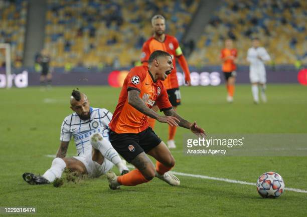Arturo Vidal of Inter in action against Dodo of Shakhtar in action during the UEFA Champions League Group B football match between Shakhtar Donetsk...