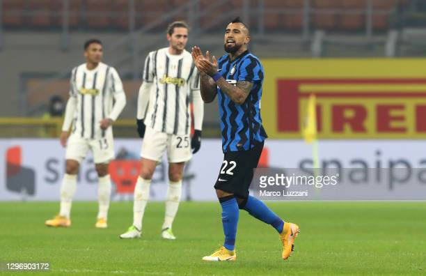 Arturo Vidal of Inter Milan celebrates after scoring their sides first goal during the Serie A match between FC Internazionale and Juventus at Stadio...
